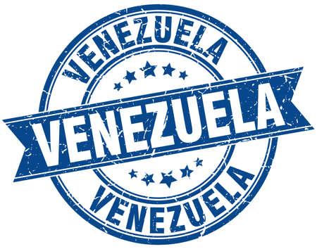 venezuela: Venezuela blue round grunge vintage ribbon stamp