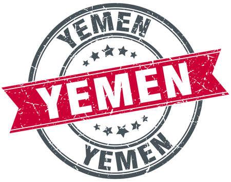 yemen: Yemen red round grunge vintage ribbon stamp
