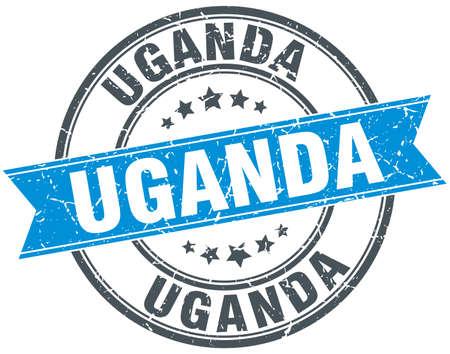 uganda: Uganda blue round grunge vintage ribbon stamp