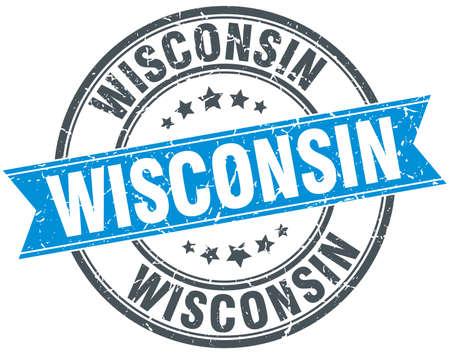 wisconsin: Wisconsin blue round grunge vintage ribbon stamp