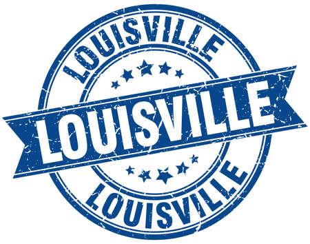 louisville: Louisville blue round grunge vintage ribbon stamp