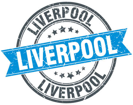 liverpool: Liverpool blue round grunge vintage ribbon stamp