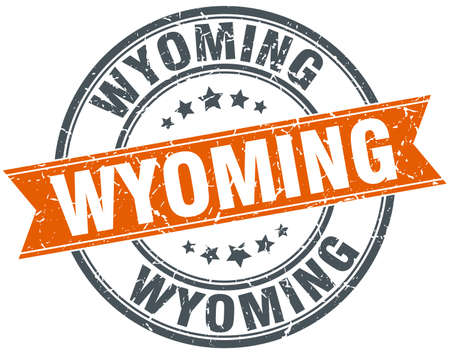 wyoming: Wyoming red round grunge vintage ribbon stamp