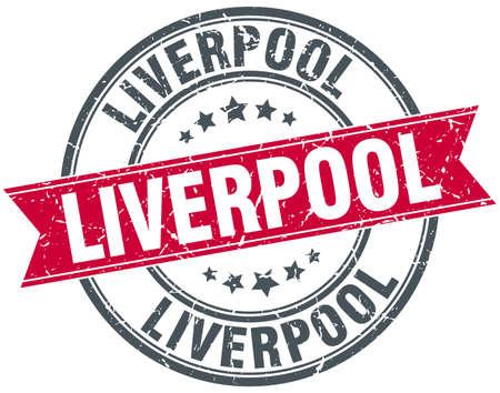 liverpool: Liverpool red round grunge vintage ribbon stamp