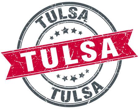 Tulsa red round grunge vintage ribbon stamp