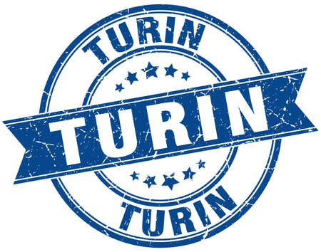 turin: Turin blue round grunge vintage ribbon stamp Illustration