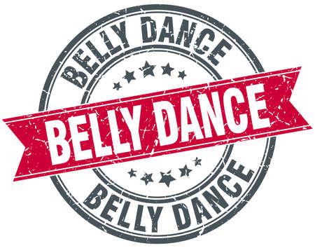 belly band: belly dance red round grunge vintage ribbon stamp Illustration