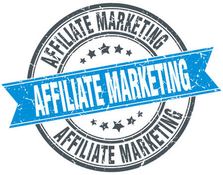 affiliate marketing: affiliate marketing blue round grunge vintage ribbon stamp