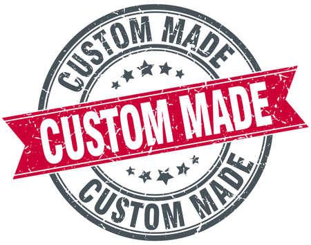 custom made: custom made red round grunge vintage ribbon stamp