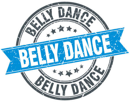 belly band: belly dance blue round grunge vintage ribbon stamp Illustration