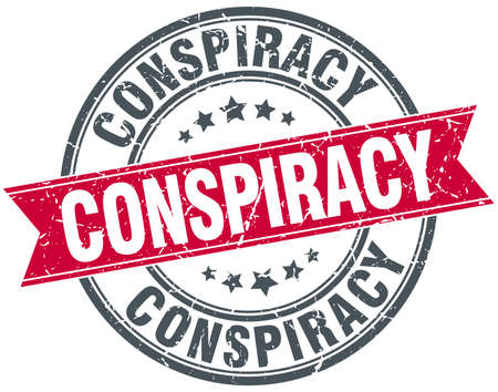 conspiracy: conspiracy red round grunge vintage ribbon stamp