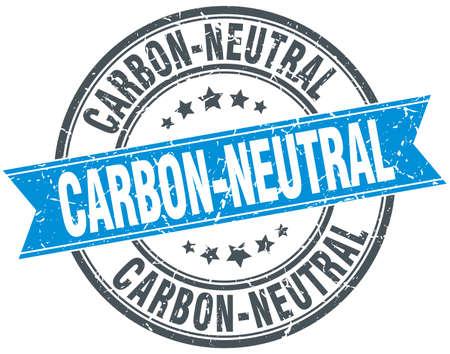 co2 neutral: carbon-neutral blue round grunge vintage ribbon stamp Illustration