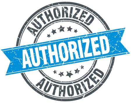 authorized: authorized blue round grunge vintage ribbon stamp