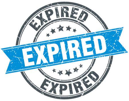 expired: expired blue round grunge vintage ribbon stamp