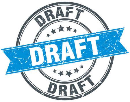 draft: draft blue round grunge vintage ribbon stamp Illustration