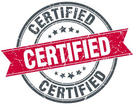 certified: certified red round grunge vintage ribbon stamp Illustration
