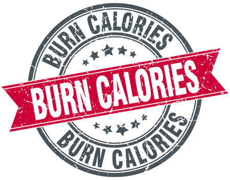 burn calories red round grunge vintage ribbon stamp Illustration