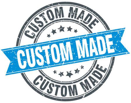 custom made: custom made blue round grunge vintage ribbon stamp