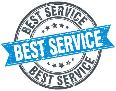 best service: best service blue round grunge vintage ribbon stamp