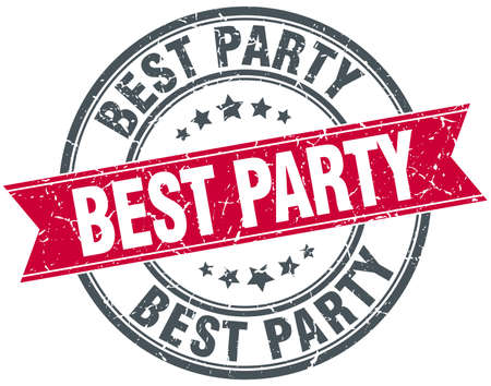best party: best party red round grunge vintage ribbon stamp Illustration