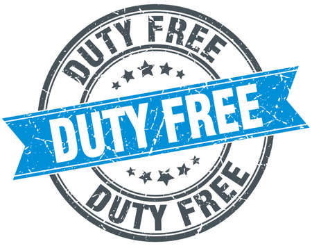 duty: duty free blue round grunge vintage ribbon stamp