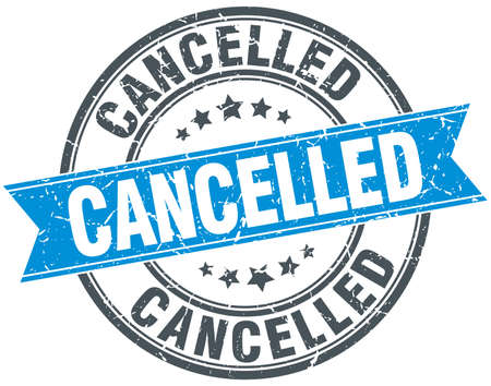 cancelled blue round grunge vintage ribbon stamp