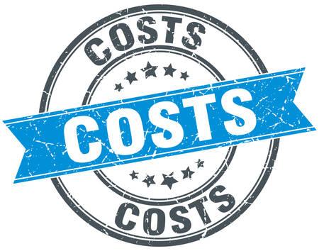 costs: costs blue round grunge vintage ribbon stamp