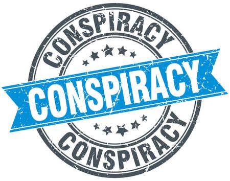conspiracy: conspiracy blue round grunge vintage ribbon stamp