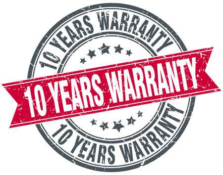 10 years: 10 years warranty red round grunge vintage ribbon stamp