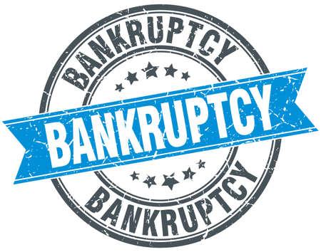 bankruptcy: bankruptcy blue round grunge vintage ribbon stamp