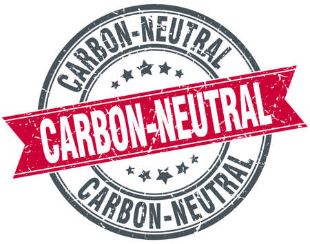 co2 neutral: carbon-neutral red round grunge vintage ribbon stamp Illustration