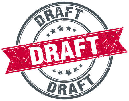 draft: draft red round grunge vintage ribbon stamp