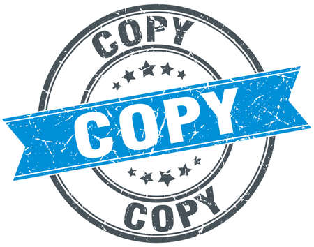 the copy: copy blue round grunge vintage ribbon stamp Illustration