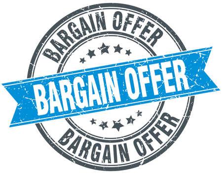 bargain: bargain offer blue round grunge vintage ribbon stamp