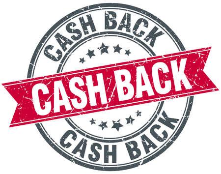 cash back: cash back red round grunge vintage ribbon stamp