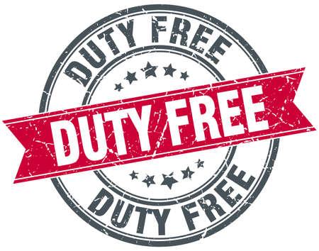 duty: duty free red round grunge vintage ribbon stamp