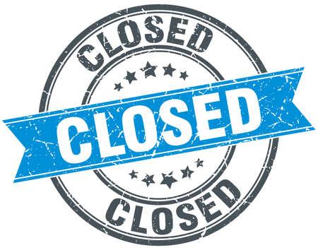 is closed: closed blue round grunge vintage ribbon stamp Illustration