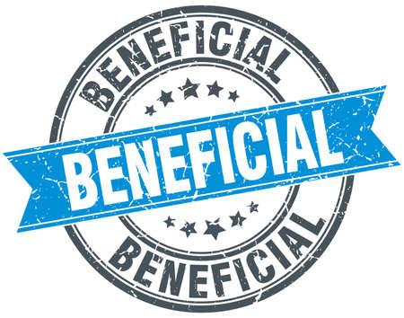 beneficial: beneficial blue round grunge vintage ribbon stamp Illustration