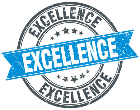 excellence: excellence blue round grunge vintage ribbon stamp