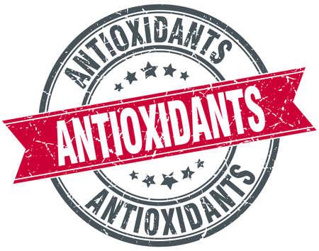 antioxidants: antioxidants red round grunge vintage ribbon stamp