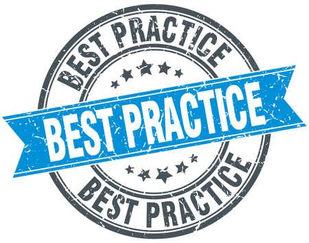 best practices: best practice blue round grunge vintage ribbon stamp