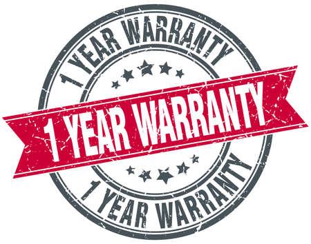 1 year: 1 year warranty red round grunge vintage ribbon stamp