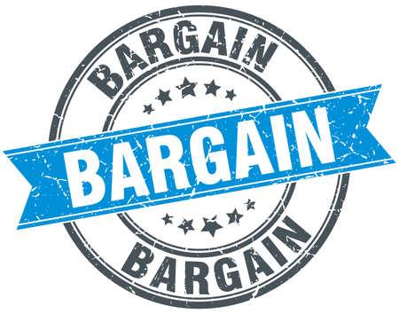 bargain: bargain blue round grunge vintage ribbon stamp