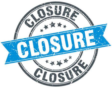 closure: closure blue round grunge vintage ribbon stamp