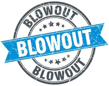 blowout: blowout blue round grunge vintage ribbon stamp