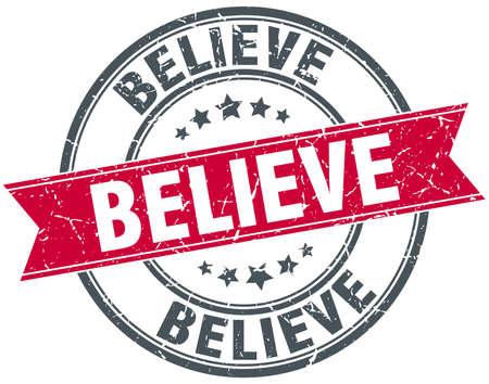 believe: believe red round grunge vintage ribbon stamp
