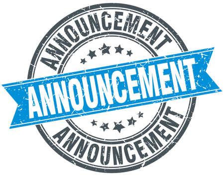 announcement: announcement blue round grunge vintage ribbon stamp