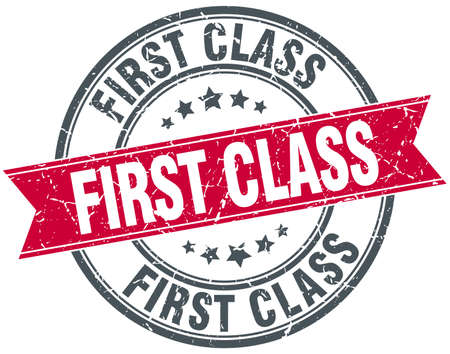 first in class: first class red round grunge vintage ribbon stamp Illustration