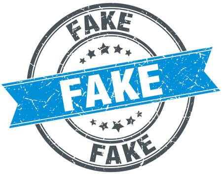 fake blue round grunge vintage ribbon stamp