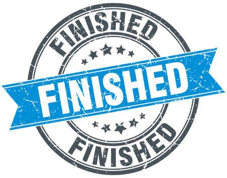 finished: finished blue round grunge vintage ribbon stamp